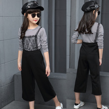 Children Garment Autumn Baby Kids Girl Clothes 2Pcs Long Sleeve T Shirt Tops+Strap Dress Clothing New Pattern Girl Stripe Dress