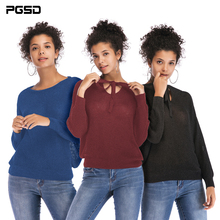 PGSD Autumn Winter Simple fashion Pure Women Clothes Long sleeves Loose tie V-neck reversible knitted sweater Pullover female