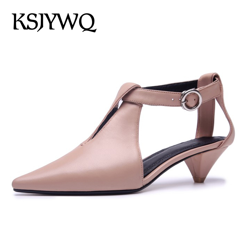 KSJYWQ Genuine Leather Women Pumps 5 CM High Heels Pointed-toe Buckle Sandals Sexy Ladies Summer Dress Shoes Box Packing P-18316 ksjywq plus size women red pumps slip on summer dress shoes 10 cm high heels sexy pointed toe woman stilettos box packing 1259 1