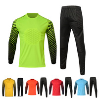 Soccer Goalkeeper Set Men Football Jersey Suits Quick Dry Blank Soccer Sports Kits Football Goalkeeper Uniforms Sponge Protector