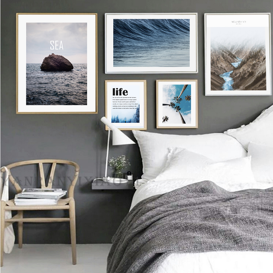 Modern nordic landscape canvas painting mountain sea for Minimalist wall painting