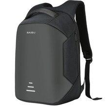 العلامة التجارية 16 الرجال محمول على ظهره الخارجية USB تهمة مكافحة سرقة الكمبيوتر حقائب الظهر الذكور حقائب مقاومة للماء
