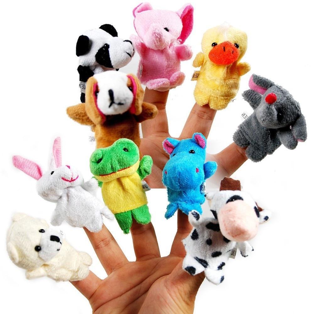MOONBIFFY 10Pcs Animal Finger Puppet Plush Toys Cartoon Biological Child Baby Favor Doll Kids Gifts Free shipping Random Color