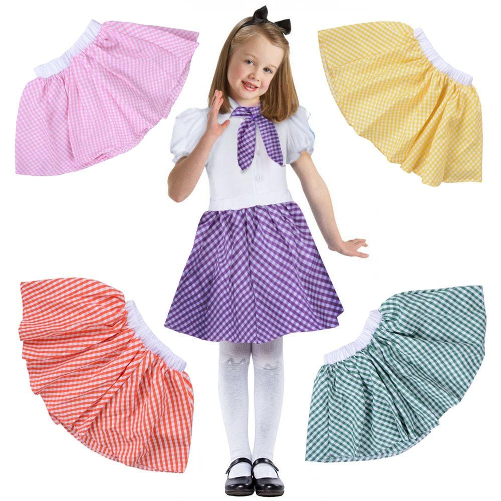 Kids Gingham Skirt 1950s Costume Vintage Rock n Rock Plaid Circle Skirt Little Sweet Baby Retro Girls Dorothy Skirt
