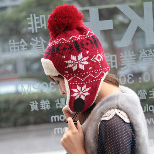 FREE SHIPPING!!! 2013 winter hat female sphere thermal trapper hat cap knitted hat knitted cap ear protector