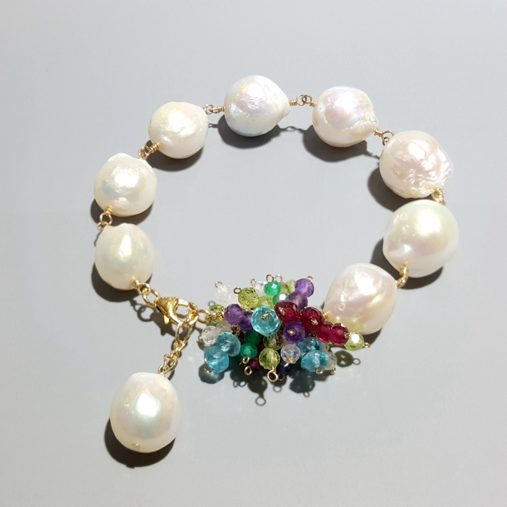 Lii Ji Real Baroque Pearl With Multi Stone 925 Sterling Silver 18K Gold Plated Handmade Bracelet For Women  Drop ShippingLii Ji Real Baroque Pearl With Multi Stone 925 Sterling Silver 18K Gold Plated Handmade Bracelet For Women  Drop Shipping
