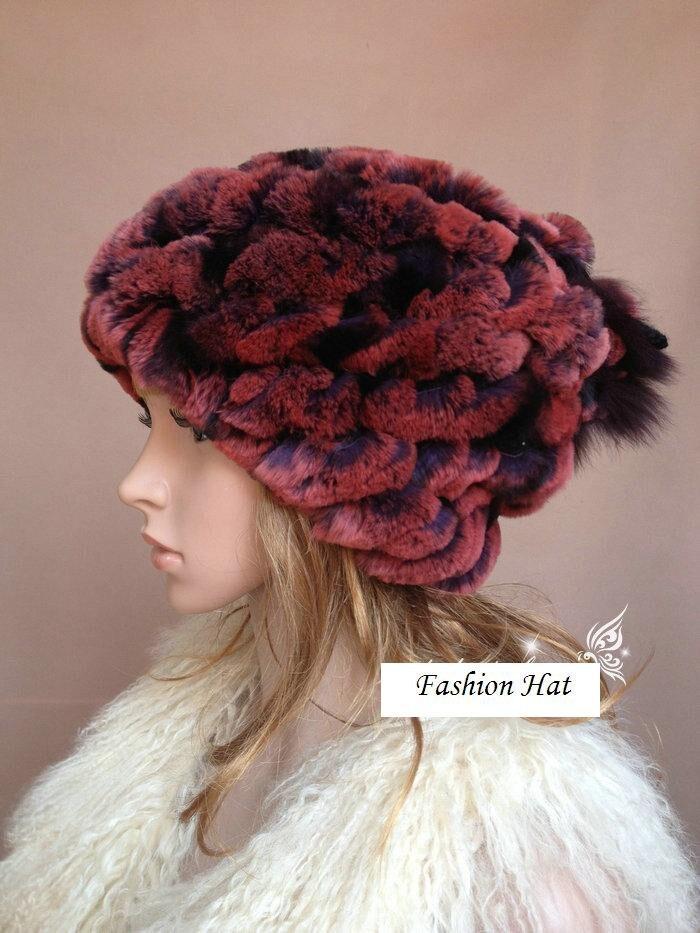 Donne cappello con cappello della sciarpa di pelliccia con pelliccia di coniglio rex, a mano a maglia femminile colorato viola autunno inverno berretti 4 colore H22