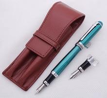 דוכס D2 ירוק בינוני ציפורן עט נובע עם 1 PCS קליגרפיה Fude כפוף ציפורן עור קלמר תיק להחלפה מתנת סט