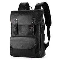 PU Backpack Men Vintage Backpacks New Korean Fashion Retro Crazy Horse Bag Men's Backpacks