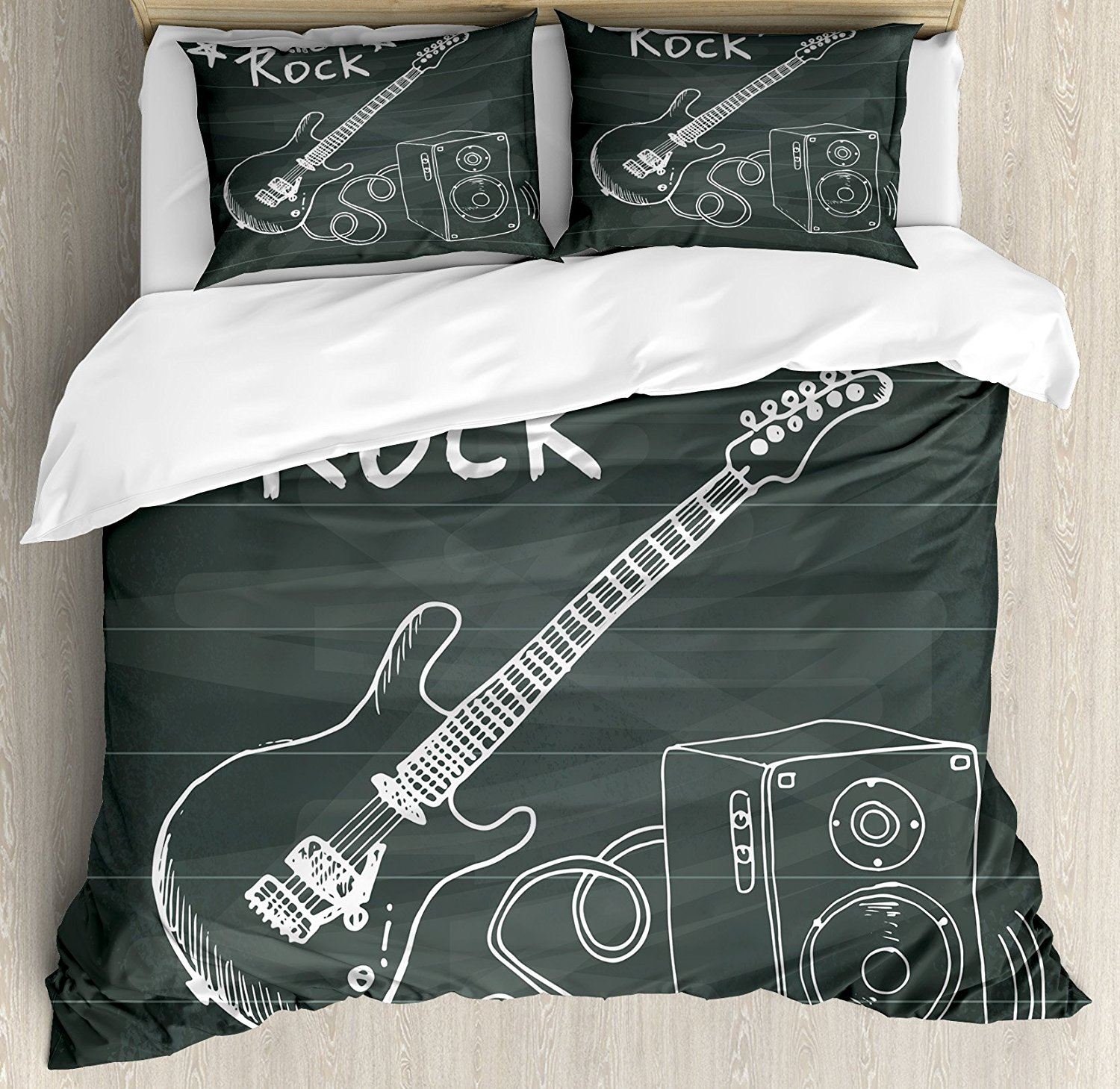 Guitar Duvet Cover Set, Love The Rock Music Themed Sketch Art Sound Box and Text on Chalkboard, 4 Piece Bedding Set