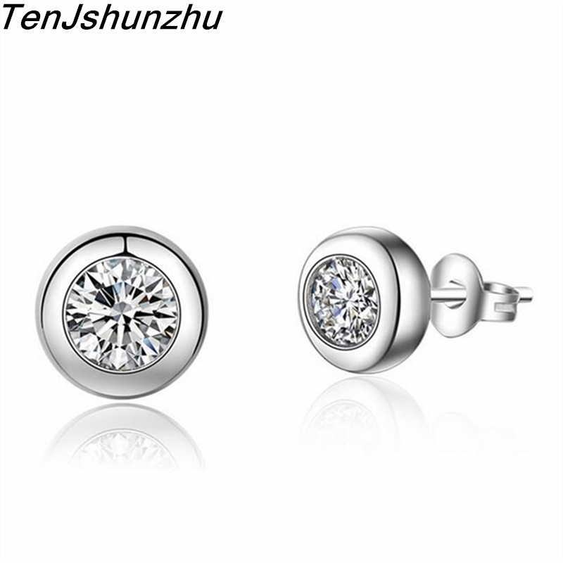 TenJshunzhu Silver Dazzling Round Push-back Stud Earrings for Women & Girls Sterling-Silver-Jewelry eh160