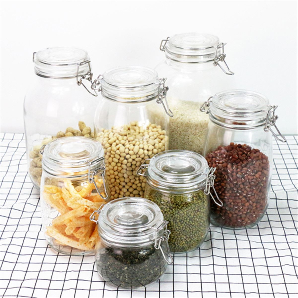 Glass Clear Jam Spices Storage Jar Bottles Sauce Food Storage Jug Preserve  Canisters Clip Top Jars Kitchen Storage Tools 6 Sizes In Storage Bottles U0026  Jars ...