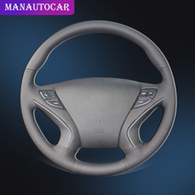 цена на Car Braid On The Steering Wheel Cover for Hyundai Sonata 8 2011 2012 2013 2014 Auto Leather Steering Covers Interior Car-styling