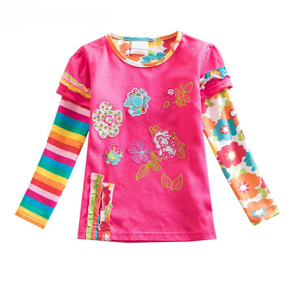 Girls-cotton-T-shirt-spring-and-autumn-children-clothes-girls-embroidery-flowers-T-shirt-kids-Tops