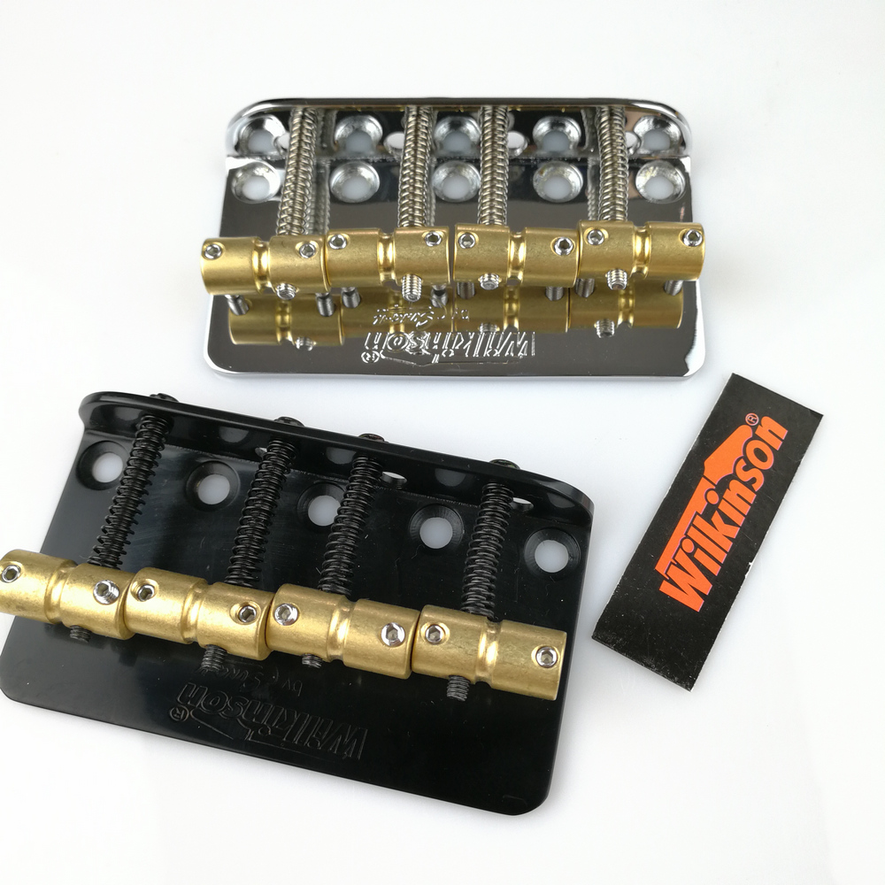 Wilkinson WBBC Four 4 Strings Electric Bass Bridge with Saddles for Precision Jazz Bass Chrome Black Black