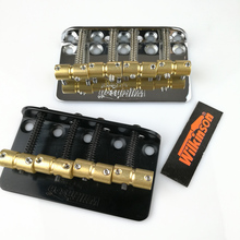 Wilkinson WBBC Four 4 Strings Electric Bass Bridge With Brass Saddles For Precision Jazz Bass Chrome Silver Black
