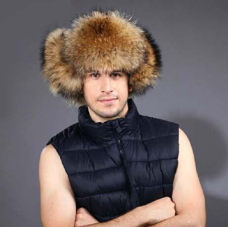 Real fox fur hat male winter raccoon fur hat thermal fashion fur cap
