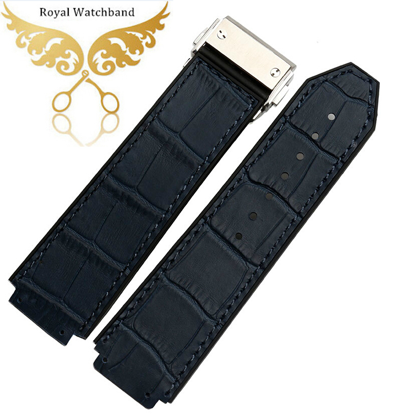 Watch band 24mm High Quality Dark Blue Aligator Look Rubber Strap For 44-45mm Watches+ H Screwdriver велосипед altair city high 28 19 2015 dark blue