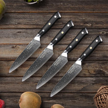 Sunnecko 4pcs Damascus Steak Knife Set 5 inches Japanese VG10 Core Steel Blade G10 Handle Kitchen Knives Table Dinner Knives