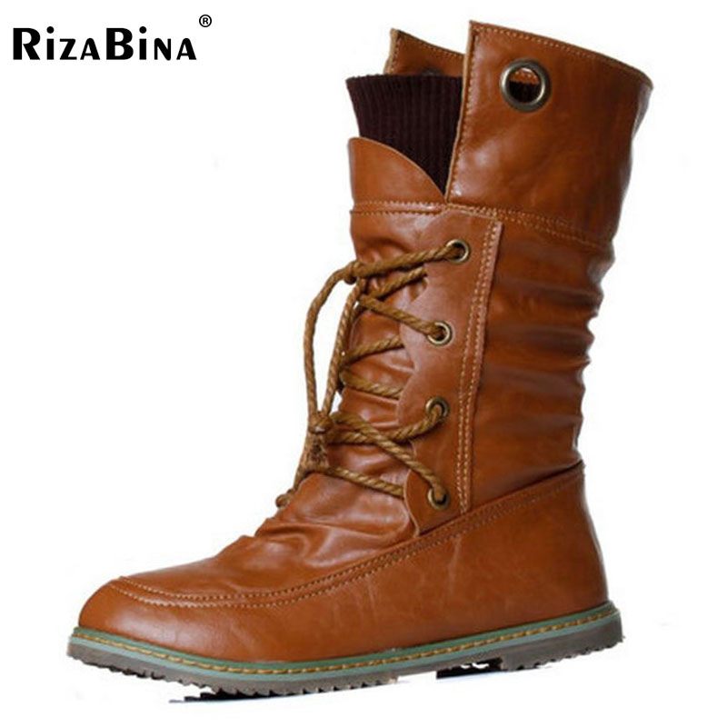 RizaBina size34-43 Women Half Knee High Boots Vintage Flats Heels Lace Up Warm Winter Fur Shoes Round Toe Platform Snow Boots fashion women half knee high boots solid buckle metal round toe platform wedge shoes 3 colors large size 34 43