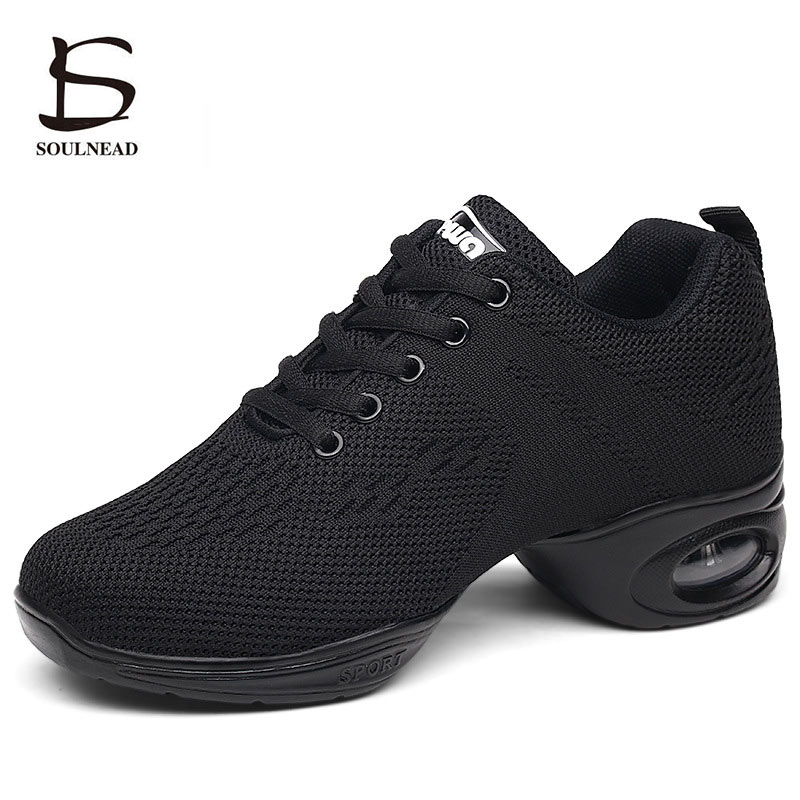 Women Sneakers Jazz Dance Shoes  Flying Woven Mesh Face Modern Dancing Shoes For Woman Spring Summer Ladies Outdoor Sports Shoes