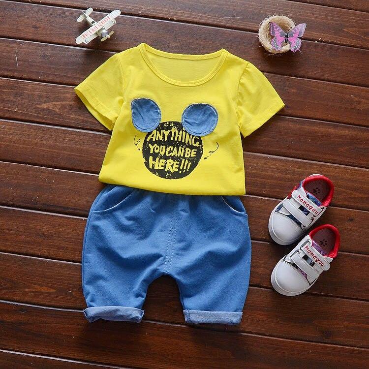 Nuevo bebé del verano Niños algodón Camisas + Pantalones Conjuntos de ropa  bebé Niños ropa 5d61fb998c7