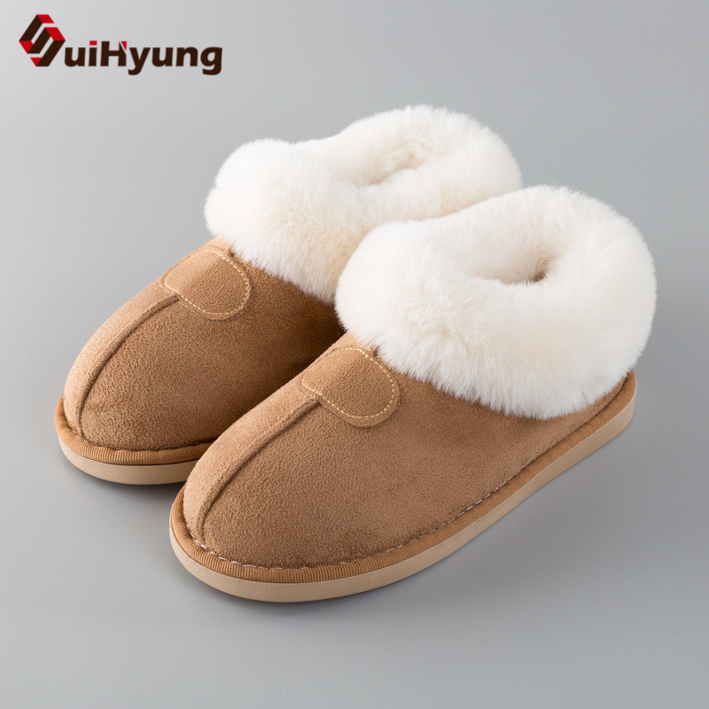 цена на Suihyung Women Winter Warm Cotton Shoes Flats Home Plush Slippers Patchwork Fake Fur Indoor Floor Shoes Female Bedroom Slippers