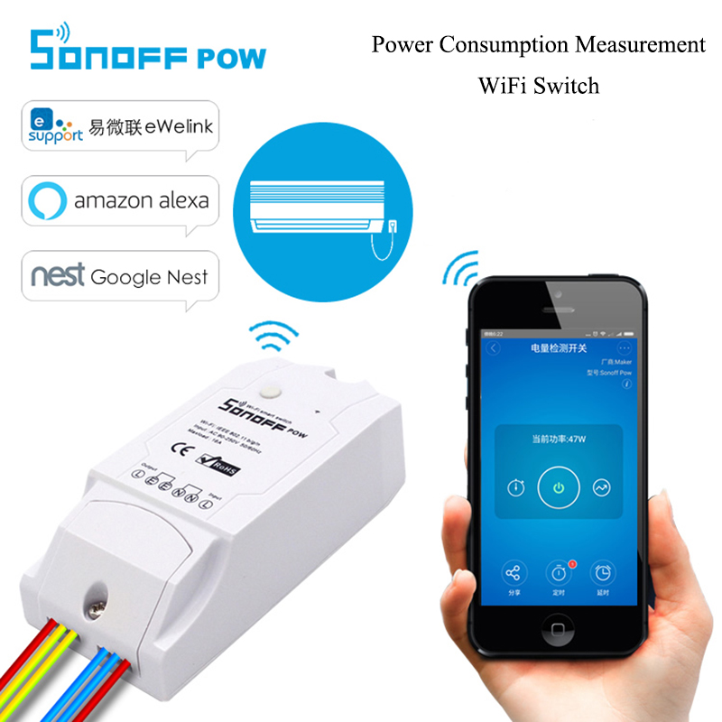 Sonoff Pow WiFi Wireless Remote turn on/off Switch 16A 3500W With Real Time Power Consumption Measurement Work with Alexa Nest