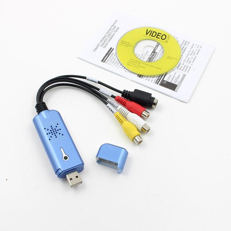 USB 2,0 Video Audio Capture Card adaptador VHS a DVD Convertidor para Win XP 7 NTSC PAL convertir vídeo analógico a formato Digital