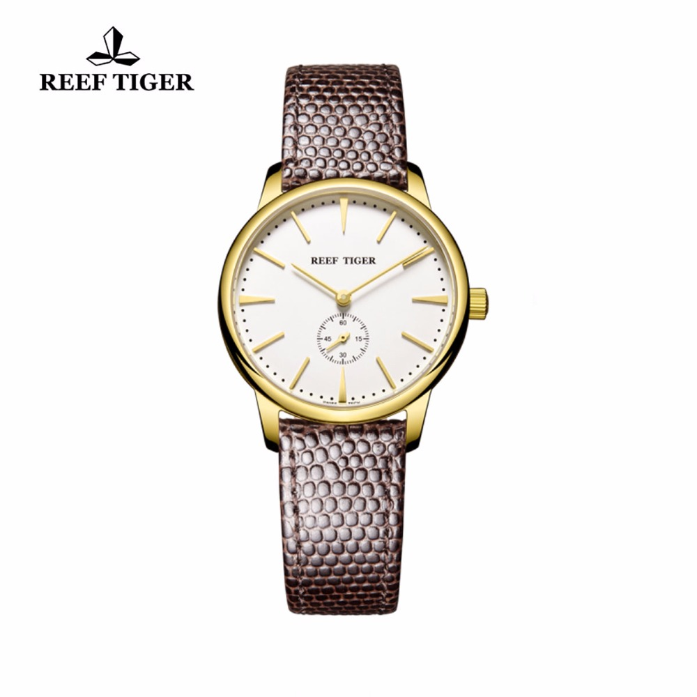 Reef Tiger/RT Yellow Gold Ultra Thin Watches For Women Leather Strap Waterproof Casual Quartz Couple Watches Relogio Masculino