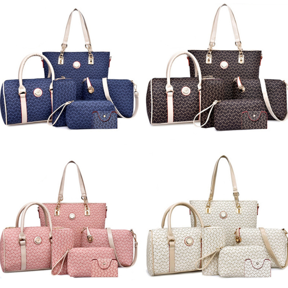 6pcs/set Women Fashion PU Leather Tote Handbag Shoulder Bag Ladies Messenger Bag Composite Bag Clutch Wallets osmond women 6pcs bag sets crocodile women leather handbag shoulder bag for women messenger bags clutch and card pack tote bag