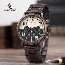 Wooden Watches Men Unique Dial Stopwatch BOBO BIRD Wristwatch Stainless steel With Date Create clock Gift In Wood Box saat erkek
