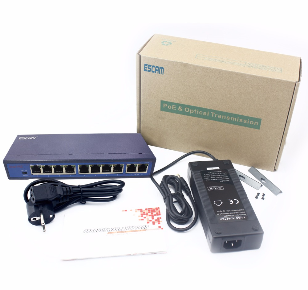 Full New ESCAM 8CH POE Switch 10/100M 150m Distance 120W DC& 2Lan Port IP Camera CCTV System NVR POE Power Supply Adapter POE8CH new sealed ws c2960 24tt l catalyst c2960 24 port 10 100 2 1000bt lan network switch