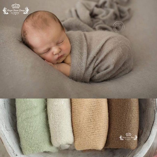 50*160 cm Many Colors New Newborn Photo Prop Wraps, Knit Soft Stretch Photography Prop, Posing White Popcorn Stretchy baby wrap