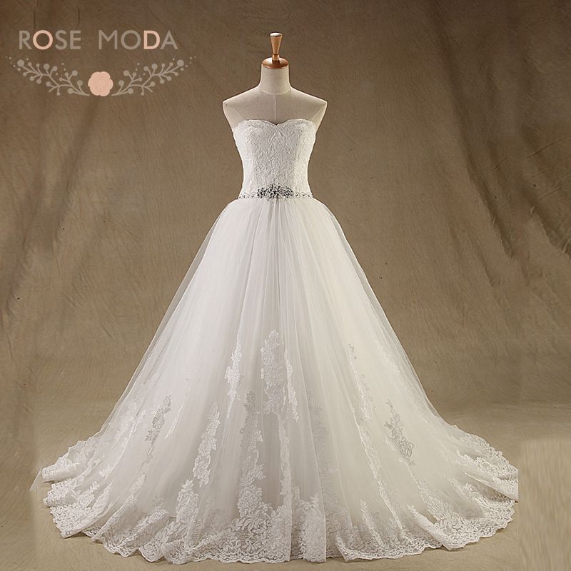 Online Shop Rose Moda French Lace Ball Gown Crystal Beaded Princess ...
