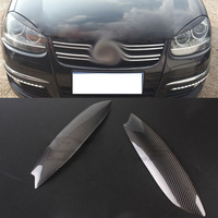 Carbon Fiber Headlight Cover Eyebrows Eyelid Trim Sticker For VW Golf 5 GTI 5 MK5