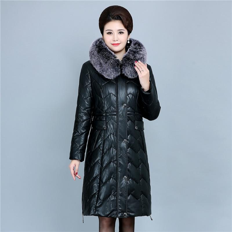 Winter Soft Leather Thicken Warm Jacket Women New PU Parka Large Fur Collar Coats Female Long