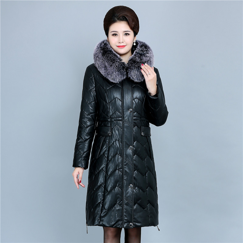 Winter Soft Leather Thicken Warm Jacket Women New PU   Parka   Large Fur Collar Coats Female Long   Parkas   Outerwear Large Size 6XL