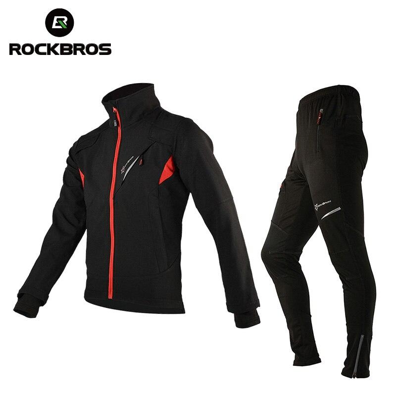 ROCKBROS Зимние флисовые велонаборы одежда Велосипедный спорт термальность трикотаж мужчин велосипед мотобрюки велосипедная