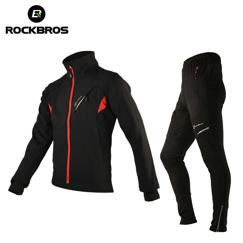 ROCKBROS Winter Fleece Cycling Sets Bicycle Thermal Jacket Men's Bike Trousers Cycling Bike Bicycle Clothing Sportswear rockbros titanium ti pedal spindle axle quick release for brompton folding bike bicycle bike parts