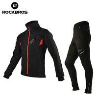 ROCKBROS Winter Fleece zestawy rowerowe odzież rowerowa kurtka termiczna Jersey męski rower spodnie kolarstwo odzież garnitur odzież sportowa w Zestawy rowerowe od Sport i rozrywka na