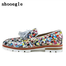 SHOOEGLE  Design Printing Weave Tassel Handcraft Lowtop Loafers Anti-skid  Casual Shoes