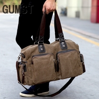 GUMST New High Quality Men's Travel Bags Solid Zipper Men Canvas Bag Travel Duffle Bag Bolsa Large Capacity Luggage Tote