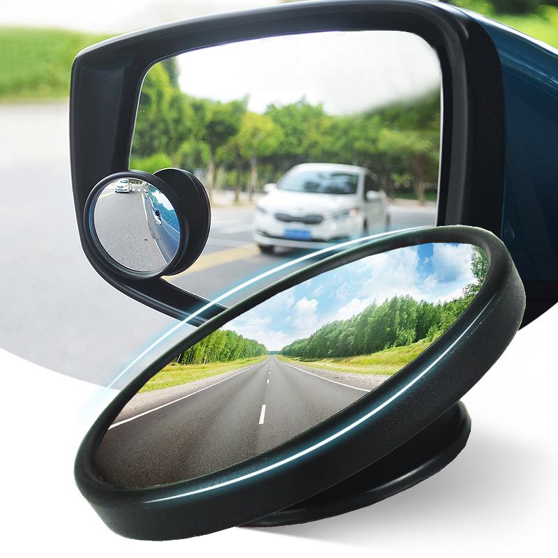 Blind Spot Mirror HD Glass Wide Angle Round Convex Rear View Mirror 360 Degree Rotatable ( Pack of 2 )
