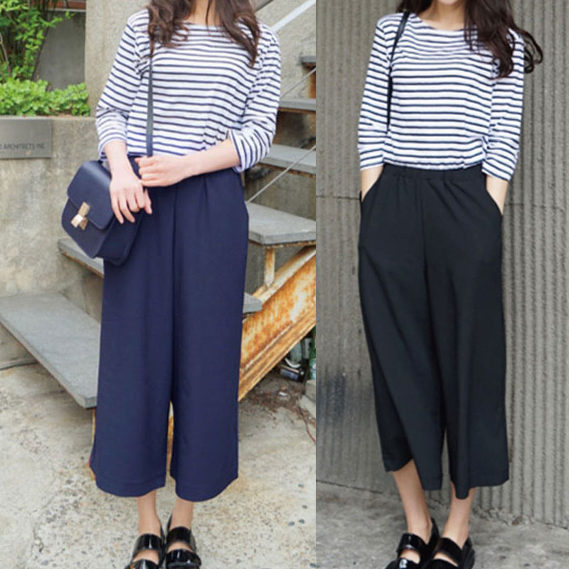 Fashion Spring Summer Women Wide Leg Pants With Pocket Chiffon Solid Color High Waist Ladies Girls Loose Casual Trouser