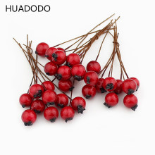 HUADODO 1cm 50pcs Artificial Flowers Stamens Red berries cherry Fake Smooth Foam Fruit for Wedding Christmas Decoration(China)