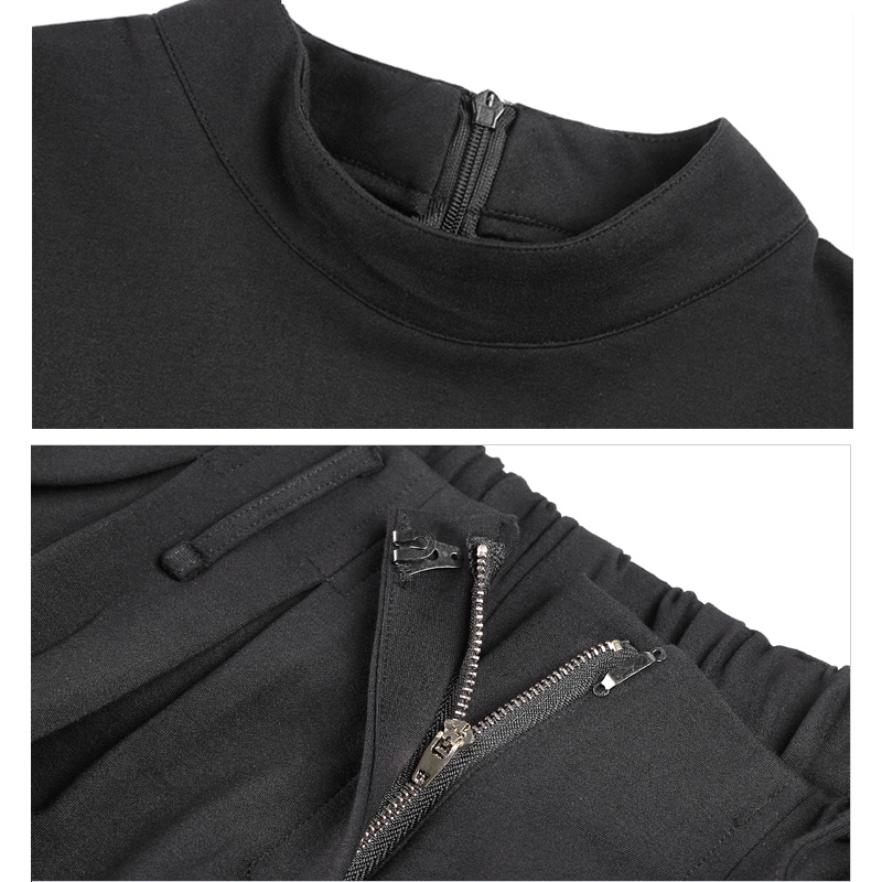 Negro Cortocircuito De Cheerart Pantalones Cuello Del Y Cabo Chándal Verano Top Piezas Set Impresión Dos Mujeres Las qwBOEXRB