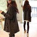 2016 Novas Mulheres Da Moda Outono Venda Quente Casaco de Lã Das Mulheres Completo Manga Longa Solta Camisola De Malha Com Capuz Para Jovem Senhora C183