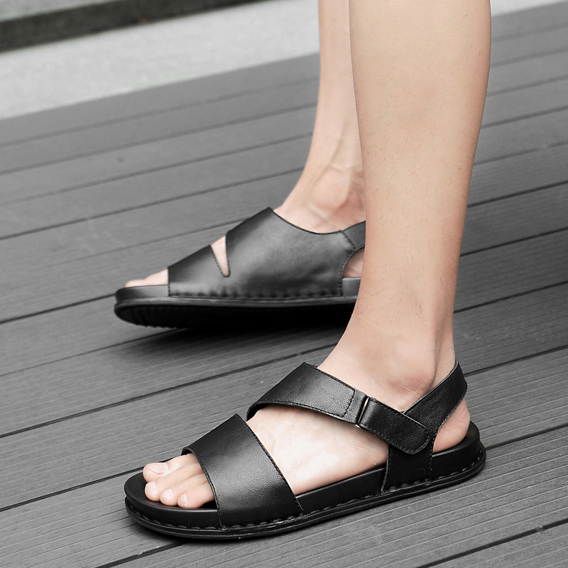 High Top Quality Men Casual Shoes Classic Genuine Leather Sandals Summer Flats Soft Sandals British
