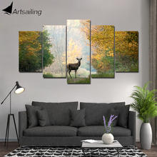 ArtSailing 5 panel wall art on canvas Paint Deer in remove Forest modern Home canvas print wall art canvas Poster framed CU-225B(China)